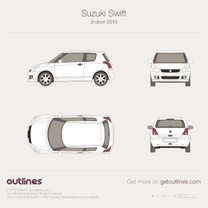 2010 Suzuki Swift 3-door Hatchback blueprint