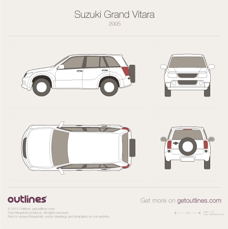 2005 Suzuki Grand Vitara SZ SUV blueprints and drawings