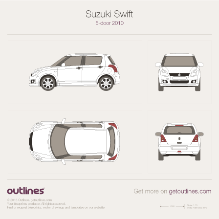 2010 Suzuki Swift 5-door Hatchback blueprint