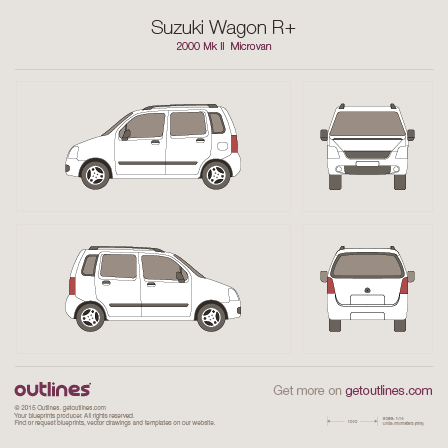 2000 Suzuki Wagon R+ Microvan blueprints and drawings