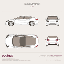 2017 Tesla Model 3 Concept Sedan blueprint