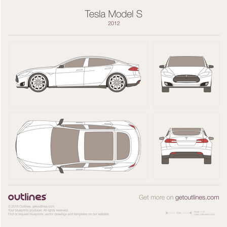 2012 Tesla Model S Sedan blueprints and drawings