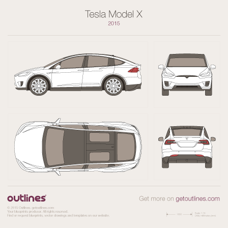2015 Tesla Model X SUV blueprint
