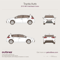 2012 Toyota Auris E180 5-doors Hatchback blueprint