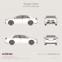 2014 Toyota Camry XV50 Facelift Sedan blueprint