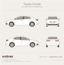 2015 Toyota Corolla E160 Facelift Sedan blueprint