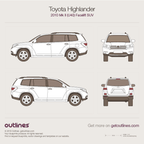 2010 Toyota Highlander XU40 Facelift SUV blueprint