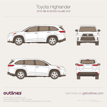 2016 Toyota Highlander XU50 Facelift SUV blueprint