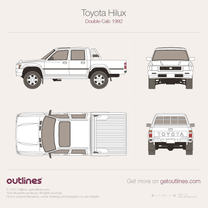 1992 Toyota Pickup Double Cab V6 4x4 Pickup Truck blueprint