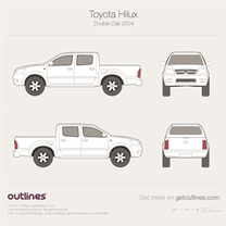 2001 Toyota Hilux VI Double Cab Facelift Pickup Truck blueprint