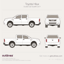 2011 Toyota Hilux VII Double Cab Facelift Pickup Truck blueprint