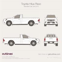 2015 Toyota Hilux Revo Standard Cab 2x4 Pickup Truck blueprint
