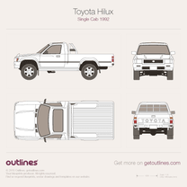1992 Toyota Pickup Single Cab V6 4x4 Pickup Truck blueprint