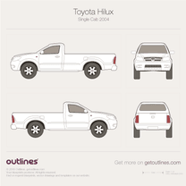 2005 Toyota Vigo Single Cab Pickup Truck blueprint