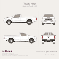2005 Toyota Vigo Single Cab Facelift Pickup Truck blueprint