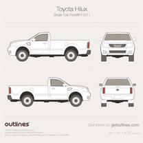 2011 Toyota Hilux Single Cab Facelift II Pickup Truck blueprint