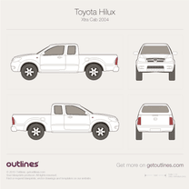 2001 Toyota Vigo Xtra Cab Pickup Truck blueprint