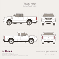 2011 Toyota Hilux Xtra Cab Facelift II Pickup Truck blueprint