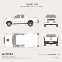 2005 Toyota Hilux Xtra Cab Facelift Pickup Truck blueprint