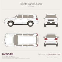 2007 Toyota Land Cruiser 200 SUV blueprint