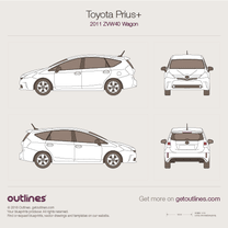 2011 Toyota Prius + ZVW40 Wagon blueprint