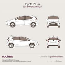 2014 Toyota Prius + ZVW40 Facelift Wagon blueprint