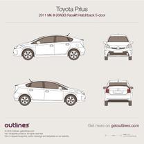 2011 Toyota Prius Mk III (XW30) 5-doors Facelift Hatchback blueprint