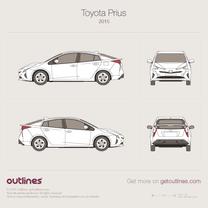 2015 Toyota Prius Hybrid Hatchback blueprint