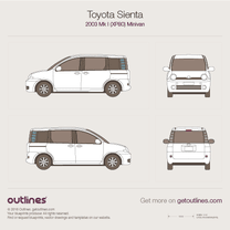 2003 Toyota Sienta XP80 Minivan blueprint