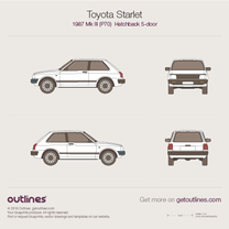 1987 Toyota Starlet P70 5-doors Facelift Hatchback blueprint