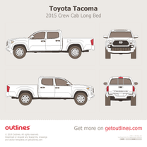 2015 Toyota Tacoma III Crew Cab Long Bed Pickup Truck blueprint