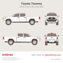 2015 Toyota Tacoma III Crew Cab Long Bed Pickup Truck blueprint