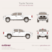 2015 Toyota Tacoma III Crew Cab Short Bed Pickup Truck blueprint