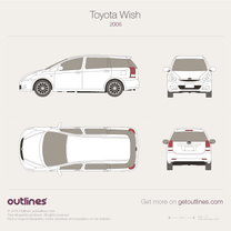 2005 Toyota Wish Facelift Minivan blueprint