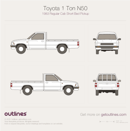 1983 Toyota 1 Ton N50 Pickup Truck blueprints and drawings