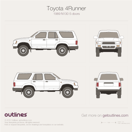 1989 Toyota 4Runner N130 5-doors SUV blueprint