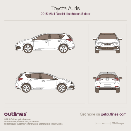 2015 Toyota Auris E180 5-doors Facelift Hatchback blueprint