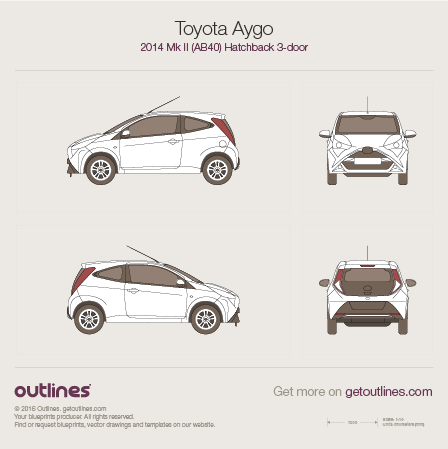2014 Toyota Aygo AB40 Hatchback blueprints and drawings