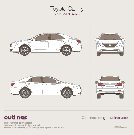 2011 Toyota Camry XV50 Sedan blueprints and drawings