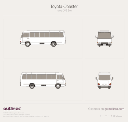 1992 Toyota Coaster Bus blueprints and drawings