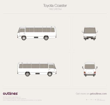 1992 Toyota Coaster LWB Bus blueprint
