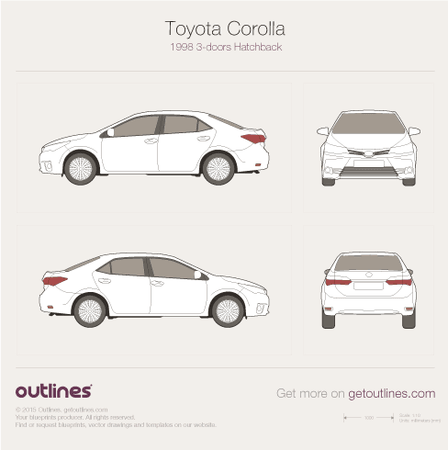 2016 Toyota Corolla E170 Facelift Sedan blueprint