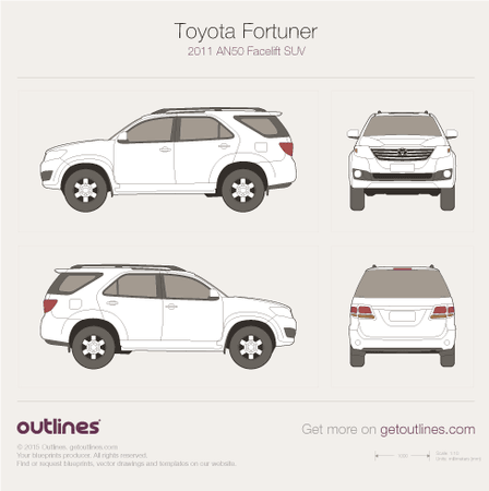 2011 Toyota Fortuner AN50 SUV blueprints and drawings