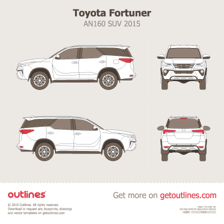 2015 Toyota Fortuner AN160 SUV blueprints and drawings