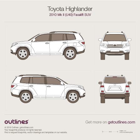 2010 Toyota Highlander XU40 SUV blueprints and drawings