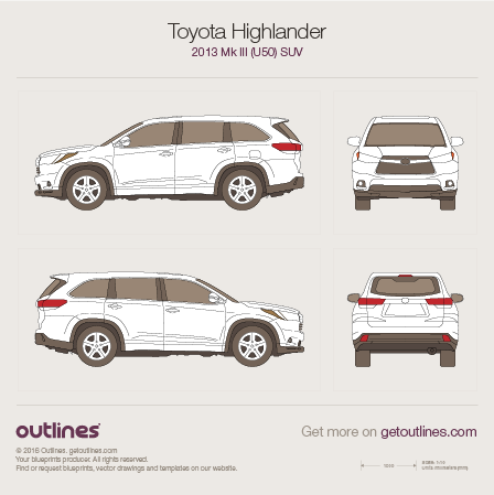 2013 Toyota Highlander XU50 SUV blueprint