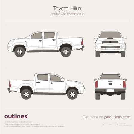 2005 Toyota Hilux VII Double Cab Pickup Truck blueprint