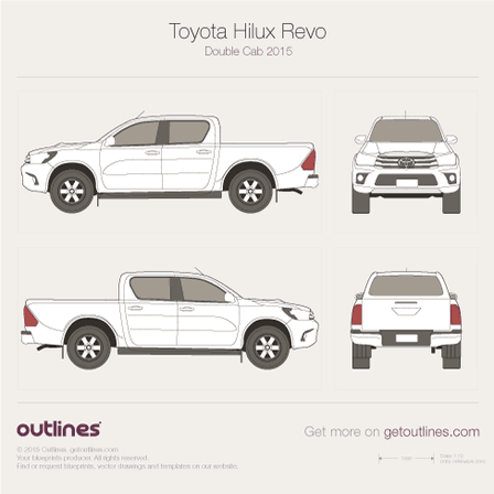 2015 Toyota Hilux Revo Double Cab Pickup Truck blueprints and drawings