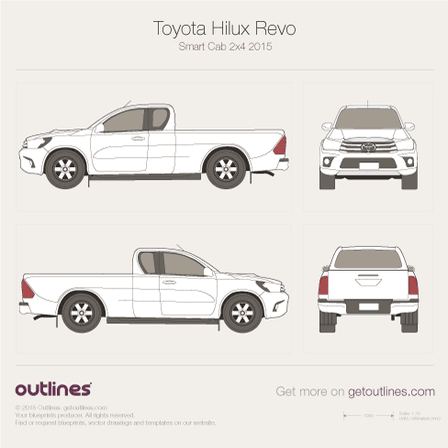2015 Toyota Hilux Revo Smart Cab Pickup Truck blueprints and drawings