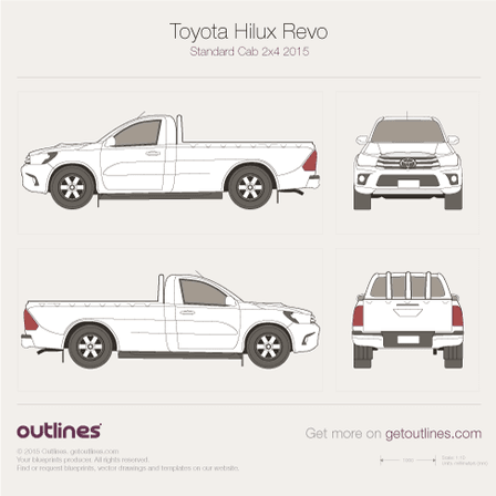 2015 Toyota Hilux Revo Standard Cab Pickup Truck blueprints and drawings
